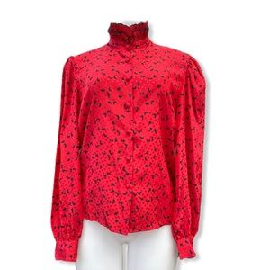 VTG 70's Helen Fabrikant Red Butterfly Blouse 8